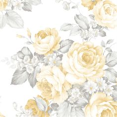 A stunning yellow rose wallpaper from the book Grand Chateau at AmericanBlinds.com