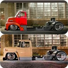 .Slammed semis.Might be photo shopped judging by the overly exact background alignment,but who really cares,still very cool.