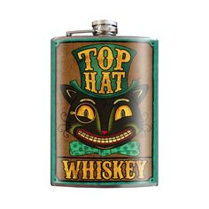 Top Hat Whiskey flask - Stainless Steel by Trixie & Milo Vintage Advertising Posters, Vintage Advertisements, Wedding Alcohol, Inked Shop, Stainless Steel Bar, Funky Art, Party Drinks, Cocktails, Me Time