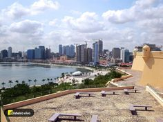 The Fortaleza de Sao Miguel watches over the south end of the bay at Luanda, Angola. Angola Africa, Paises Da Africa, African Countries, Countries Of The World, Cuba, Work Overseas, Moving Overseas, May Bay, Pretoria