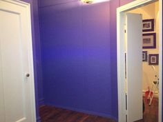 Phase #1: Paint - Deep Purple (Entry Door at right, Alcove in far Wall and Closet Door on left) - This alcove will house the handmade closed-door cabinetry you see in Drawing #5