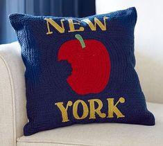 New York City Crewel Embroidered Pillow #potterybarn