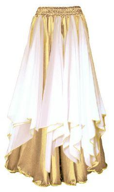 Saia Cigana Ninfa Dourada e Branco