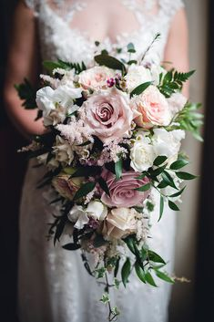 cascading wedding bouquets pink with roses flowers by kirsty