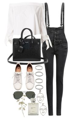 """""""Untitled #10678"""" by nikka-phillips ❤ liked on Polyvore featuring TIBI, Yves Saint Laurent, H&M, MANGO, Forever 21 and Ray-Ban"""