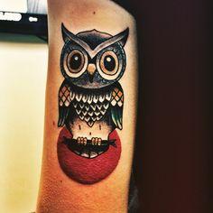 New Traditional Owl Tattoo