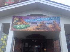 "Wilderness Escape Vacation Bible School uses eSigns.com! Check out their awesome review: ""Thanks to eSigns we were able to advertise out VBS with this beautiful banner!"" -Hope C."