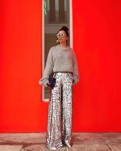 Tis the season to dazzle in @delpozo ✨ Click link in bio to shop the #metallic wide-leg #trousers – now up to 50% off in our fall/winter #sale now! pc: @aureta