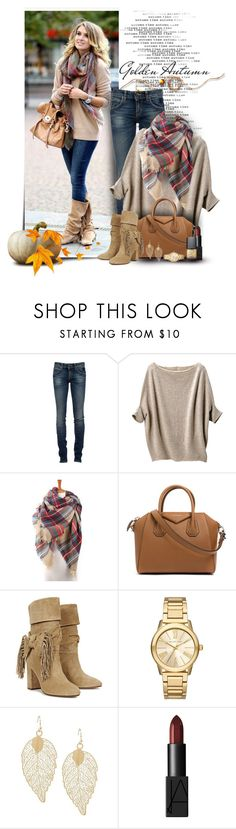 """Get The Look"" by cindycook10 ❤ liked on Polyvore featuring RoÃ¿ Roger's, Uniqlo, Givenchy, Aquazzura, Michael Kors, NARS Cosmetics, fallfashion and falloutfit"