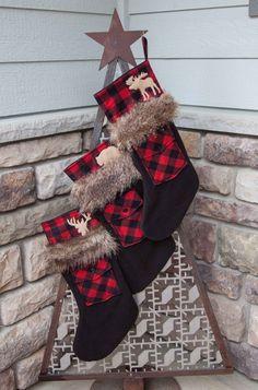 60 Ideas Farmhouse Christmas Stockings Etsy For 2019 Christmas Lodge, Woodland Christmas, Christmas Deer, Rustic Christmas, Christmas 2019, Christmas Sewing, Christmas Crafts, Christmas Ornaments, Plaid Christmas Stockings