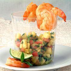 Seared Shrimp Cocktail with Tropical Chipotle-Avocado Salsa | MyRecipes.com