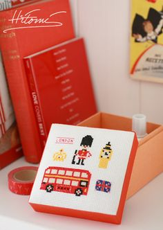 "square box (stitch design :DMC"" travel collection U.K."")"
