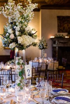 Blue and White Wedding Reception at New York Athletic Club Photo by Jessica Haley