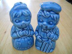 Blue Dutch Boy and Girl Salt and Pepper Shakers by DEWshophere