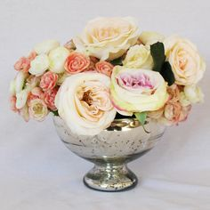 Silver Mercury Glass Pedestal Bowl in Diameter x Tall with a opening. Beautiful glass bowl is perfect for any arrangement. The pedestal is hollow to allow for extra room for stems and vase Table Flowers, Flower Vases, Wedding Centerpieces, Wedding Decorations, Wedding Ideas, Wedding Wholesale, Gold Vases, Floral Supplies, Silver Flowers