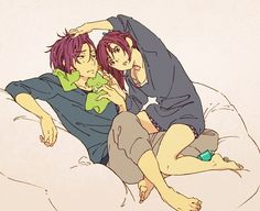 Free! ~~ Would you REALLY let your little sister shave your stubble?! :: Gou & Rin