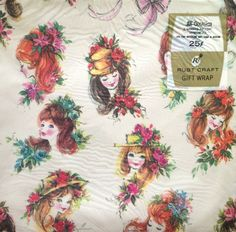 Young Women in Hats and Floral Headdresses   - Rust Craft - Vintage 1960 - All Occasion - 2 Sheet Flat Wrap Package - Drawings of Women