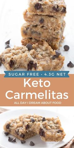 Keto Carmelitas are a decadent low carb dessert. No sugar or grains, just crumbly, oat like crust and delicious sugar-free caramel and chocolate center. Low Carb Sweets, Low Carb Desserts, Healthy Desserts, Low Carb Recipes, Ketogenic Desserts, Keto Snacks, Sugar Free Desserts, Dessert Recipes, Cookie Recipes
