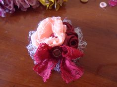 red and peach seroja brooch
