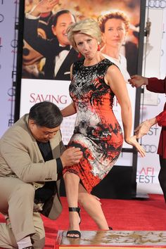 Emma Thompson (the original Jennifer Lawrence!) getting her hand & foot prints immortalized at Mann's Chinese Theatre, Hollywood