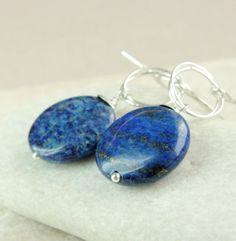 Lapis Lazuli  Earrings       Sterling Silver    Dangle   by hildes, $28.00