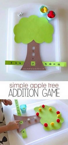Darling Math activity for kindergarten and first grade. Learn simple addition.