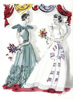 """Joyous, full skirted dresses from Lanvin. The one on the left in """"wave-green"""" tulle embrellished with tulle braid; and on the right an organza garden party dress """"as young as a new moon."""" - Illustration: Christian Bérard, Vogue, April 1, 1937"""