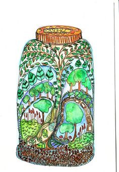 treearium #1 by wiccked, via Flickr. Un bocal à conserve : qu'y conserverais-tu ? rêve, imagination, créativité, paysage fabuleux.