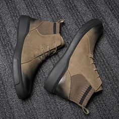 Men Retro Color Leather Fabric Splicing Non-slip Soft Sole Casual Boots is fashionable, come to NewChic to buy mens boots online. Striped Ankle Boots, Men's Shoes, Shoe Boots, Shoes Men, Mens Boots Online, Retro Color, Casual Boots, Men Casual, Leather Fabric