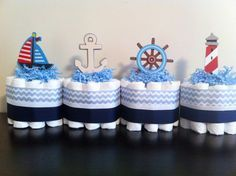 Set of 4 Mini Nautical Diaper Cakes, Nautical Baby Shower, Nautical Shower Centerpiece Decor on Etsy, $38.00