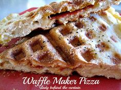 Lady Behind The Curtain - Waffle Maker Pizza   Great idea for those that do not have ovens, but do have a waffle maker.
