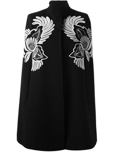 Black Flower feather Embroidered Cape Coat #Coat