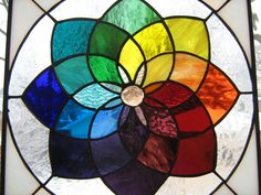 COLORFUL Color Wheel Stained Glass Window by stanfordglassshop. $150.00 USD, via Etsy.