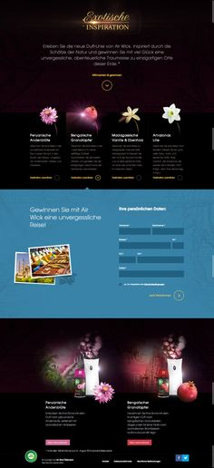 Air Wick AT - Exotische Inspiration promotion landing page. The landing page has an easy to use functionality and inspires the user to discover the new fragrances by comparing them to the countries they come from and to which the user can win a trip. Win A Trip, New Fragrances, Landing, Countries, Promotion, It Works, Inspiration, Easy, Amazons