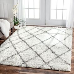 shaggy rugs for living room. nuLOOM Alexa My Soft and Plush Moroccan Trellis White  Grey Easy Shag Rug 8 x 10 Multi Size Polypropylene Geometric Bring home the very plush ultra soft handmade shag rug