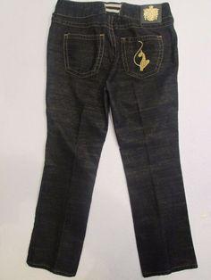 #460-Baby Phat Sparkle Straight leg Dark Jeans Cotton Blend Womens Size 14  #BabyPhat #StraightLeg