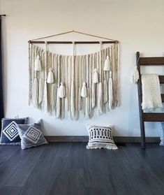 Hand crafted yarn wall hangings by UpTheWallflower Large Macrame Wall Hanging, Yarn Wall Hanging, Wall Hangings, Macrame Curtain, Moroccan Design, Jute Twine, Wall Spaces, Large Wall Art, How To Make Beads