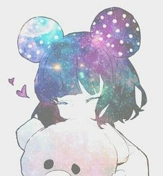 Kawaii anime girl with Minnie Mouse ears