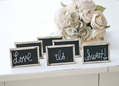 set of 12 chalkboard signs for $48- you pick the color of the frame. getting these!