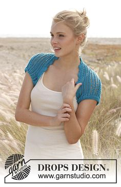 Sea Shrug / DROPS 145-20 - DROPS pitsineulebolero Cotton Light -langasta. Koot S-XXXL.