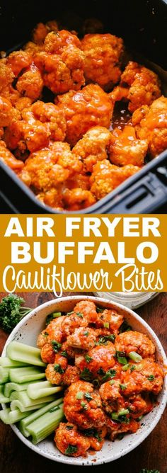 Cauliflower stands as a delicious vegetarian alternative to chicken wings in this recipe for spicy Air Fryer Buffalo Cauliflower Bites. Prepared with an almond flo Air Frier Recipes, Air Fryer Oven Recipes, Air Fryer Dinner Recipes, Air Fryer Recipes Vegetarian, Air Fryer Chicken Recipes, Buffalo Cauliflower Bites, Keto Cauliflower, Comida Keto, Clean Eating