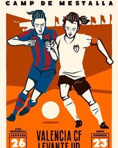 A poster advertising the upcoming Valencia v Levante La Liga local derby in Dec Football Referee, Derby, Valencia, Cartoon, Illustration, Instagram Posts, Poster, Tournoi, Dec 2016