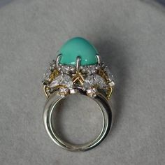 Tiffany Schlumberger Turquoise Diamond Bee Ring | From a unique collection of vintage more rings at https://www.1stdibs.com/jewelry/rings/more-rings/