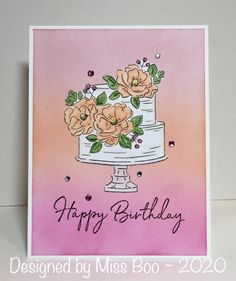- Happy Birthday to You by Miss Boo - Cards and Paper Crafts at Splitcoaststampers Paper Cards, Diy Cards, Karen Barber, Ombre Background, Wink Of Stella, Simon Says, Pretty Cards, Copic Markers