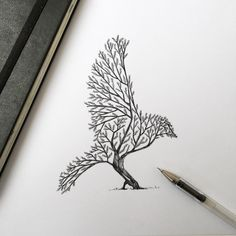 Pen & Ink Depictions of Trees Sprouting into Animals by...