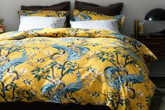 Apartment Makeover! How To Make Every Room Look New Again: Dwellstudio Peacock Citrine Duvet Set, available at ABC Home and Carpet