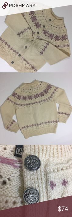 """Norwegian Wool Fair Isle Cardigan Sweater 19"""" underarm to underarm  23"""" top to bottom  16.5"""" underarm to bottom of sleeve   Slight discoloration under top button All items photographed immediately prior to packing for shipping Dale  Sweaters Cardigans"""