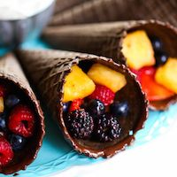 Chocolate-Dipped Fruit Cones with Fruit Dip