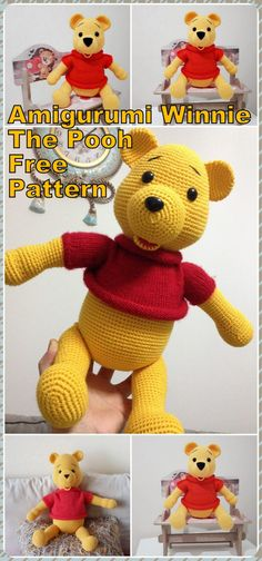 In this article we will share the amigurumi winnie the pooh crochet free pattern. Amigurumi related to everything you can not find and share with you. Crochet Animal Amigurumi, Crochet Amigurumi Free Patterns, Crochet Bear, Amigurumi Doll, Free Crochet, Winnie The Pooh, Winnie Poo, Crochet Baby Blanket Tutorial, Crochet Baby Dress Pattern