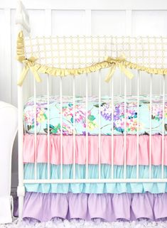 Holly's Hydrangea Ruffle Baby Bedding | Pastel Pink Blue Lavender Crib Rail Cover